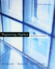 Cover of: Beginning algebra with applications