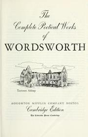 Cover of: The complete poetical works of Wordsworth