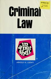 Cover of: Criminal law in a nutshell