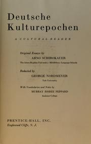 Cover of: Deutsche Kulturepochen, a cultural reader: original essays.