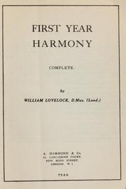Cover of: First year harmony: complete
