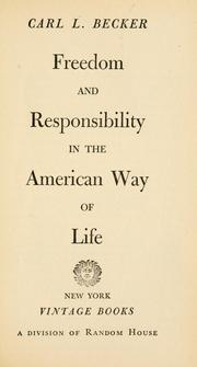 Cover of: Freedom and responsibility in the American way of life