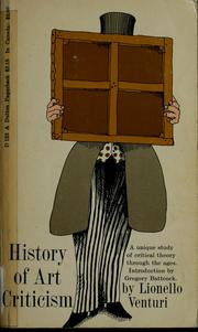 Cover of: History of art criticism