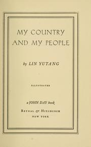 Cover of: My country and my people