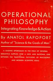 Cover of: Operational philosophy.
