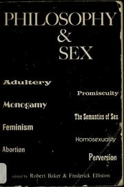 Cover of: Philosophy and sex