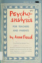Cover of: Psychoanalysis for teachers and parents: introductory lectures.