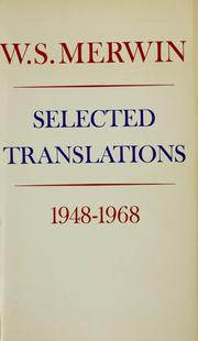 Cover of: Selected translations, 1948-1968