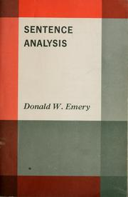 Cover of: Sentence analysis