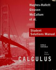 Cover of: Student solutions manual to accompany Calculus: single variable, third edition