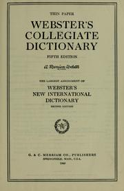 Cover of: Webster's collegiate dictionary
