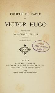 Cover of: Propos de table de Victor Hugo