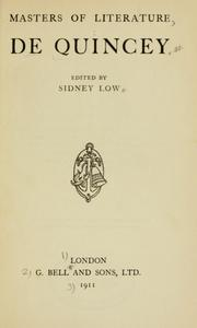 Cover of: Masters of literature, De Quincey