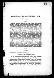Cover of: Address and presentation, June 30th, 1884