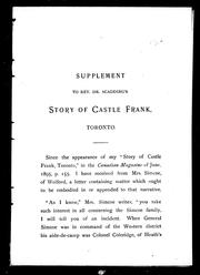 Cover of: Supplement to Rev. Dr. Scadding's Story of Castle Frank, Toronto