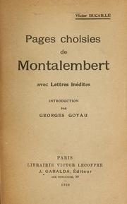 Cover of: Pages choisies de Montalembert, avec Lettres inédites