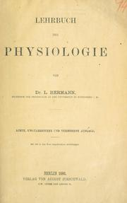 Cover of: Lehrbuch der Physiologie