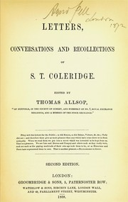 Cover of: Letters, conversations and recollections of S.T. Coleridge