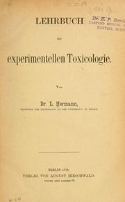 Cover of: Lehrbuch der experimentellen Toxicologie