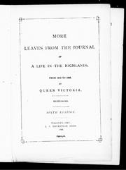 Cover of: More leaves from the journal of a life in the Highlands, from 1862 to 1883
