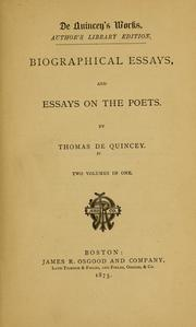 Cover of: Biographical essays, and Essays on the poets