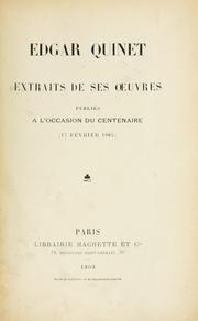 Cover of: Extraits de ses oeuvres
