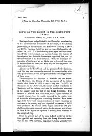Cover of: Notes on the locust in the North-west in 1876