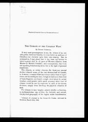 Cover of: The climate of the Canadian west