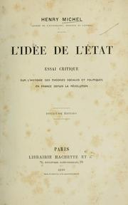 Cover of: L'idée de l'état