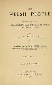 Cover of: The Welsh people: chapters on their origin, history, laws, language, literature, and characteristics