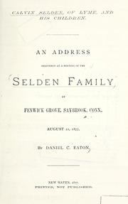 Cover of: Calvin Selden, of Lyme, and his children