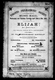 Cover of: Toronto Philharmonic Society
