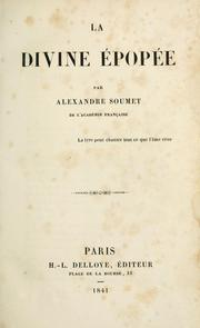 Cover of: La divine épopée.