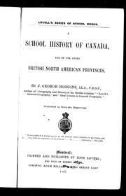 Cover of: A school history of Canada: and of the other British North American provinces
