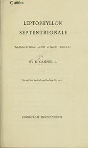 Cover of: Leptophyllon septentrionale: translations and other trifles.