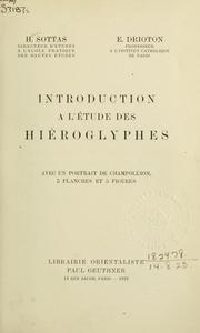 Cover of: Introduction a l'étude des hiéroglyphes.