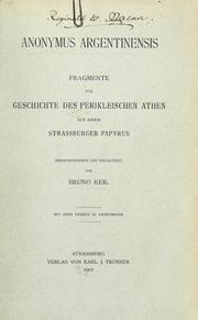Cover of: Anonymus Argentinensis
