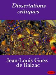 Cover of: Dissertations critiques