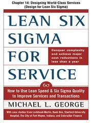 Cover of: Lean Six Sigma for Service: Designing World Class Services