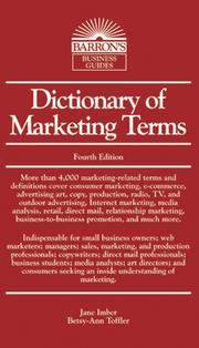 Cover of: Dictionary of Marketing Terms
