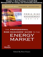 Cover of: Best Practices in Credit Risk Management for Energy and Commodity Derivatives