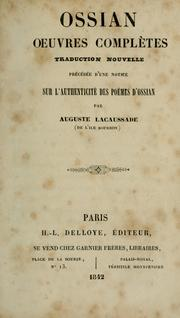 Cover of: Ossian oeuvres complètes