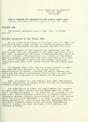 Cover of: Public hearing on increase in the public debt limit: before the Committee on Finance on July 19, 1989
