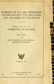 Cover of: Summary of H.R. 4200, Retirement Income Security for Employees Act as passed by the Senate