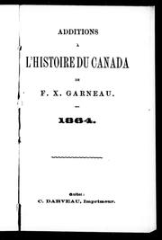 Cover of: Additions à l'Histoire du Canada de F.X. Garneau: 1864