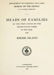 Cover of: Heads of families at the first census of the United States taken in the year 1790: Rhode Island
