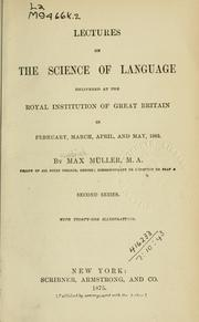 Cover of: Lectures on the science of language