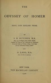 Cover of: The Odyssey of Homer, done into English prose by S.H. Butcher and A. Lang