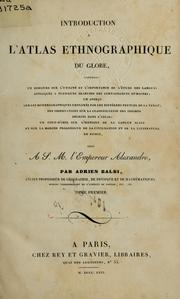 Cover of: Introduction à l'atlas ethnographique du globe