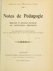 Cover of: Notes de pédagogie